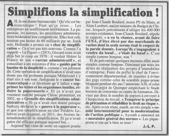 Simplification administrative